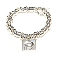 Chunky T-Bar Bracelet with fingerprint charm