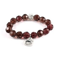 Plum Crystal Bracelet with fingerprint charm