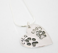 Double Paw Print Heart Necklace