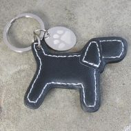 Faux Leather Pawprint Keyring