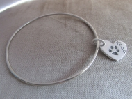 Bangle With Paw Print Charm