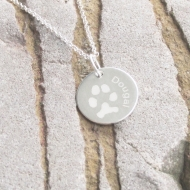 Engraved  Circle Paw Print Necklace