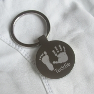 Hand and Footprint Engraved Keyring
