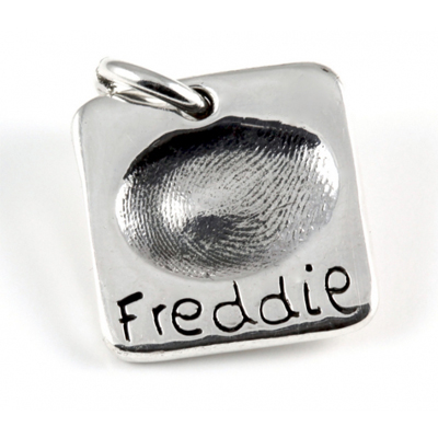 Small Square Fingerprint Charm