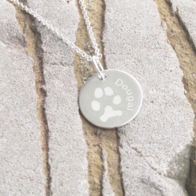 engraved circle paw print necklace fingerprint jewellery