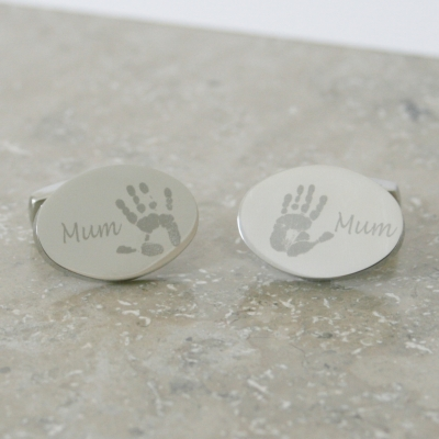 Engraved Oval Hand Or Footprint Cufflinks