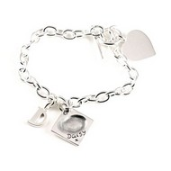 Small Link Charm Bracelet with fingerprint charm