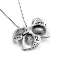 Triple Ascending Heart Fingerprint Necklace